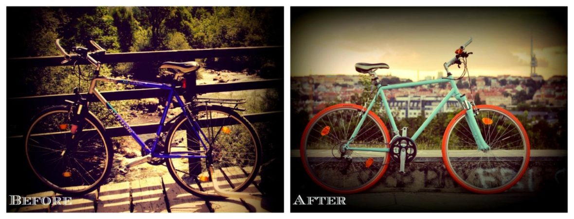 Before and after old bike retro renovation