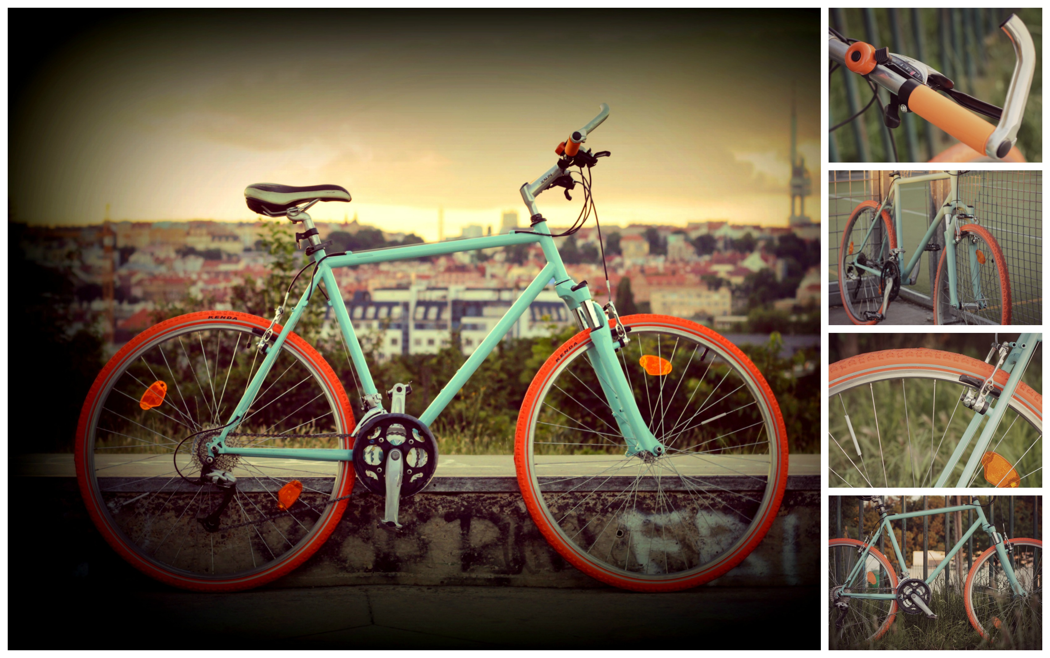 Old bike retro renovation - mint and orange colours